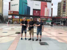 Mark and a couple of Port Power supporters in Zhenzhou